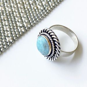 Moss Agate Silver Gemstone Ring 8.5